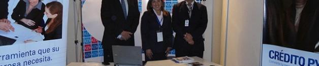 Constan en el stand del Banco de Guayaquil Mauricio Yépez, Vicepresidente Región Norte; Saskia Paola Solano Méndez, Jefe de Agencia Amazonas; Emerson Granja Estrella, Jefe de Agencia Parkenor.