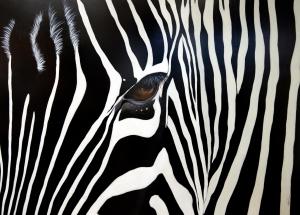 La pintora se encuentra investigando el tema de las miradas de los animales.