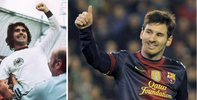 Torpedo, Múller (izquierda) y Lionel Messi. El argentino ha superado al alemán en la marca goleadora en un año.