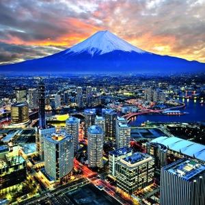 Vista de Tokio, con el fondo del Monte Fuji.